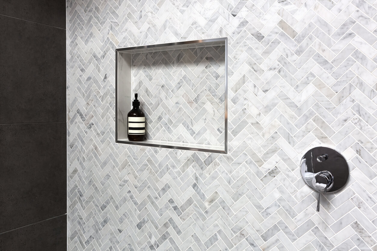 shower wall with grey titles